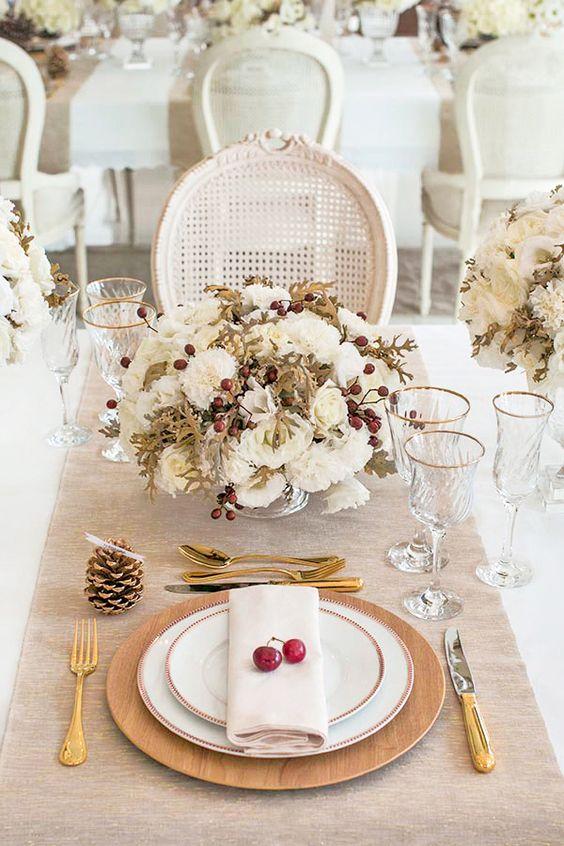 Mesa de natal com flores