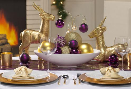 mesa de natal lilas e dourado